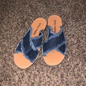Dirty Laundry Denim Slide Sandals Size 9
